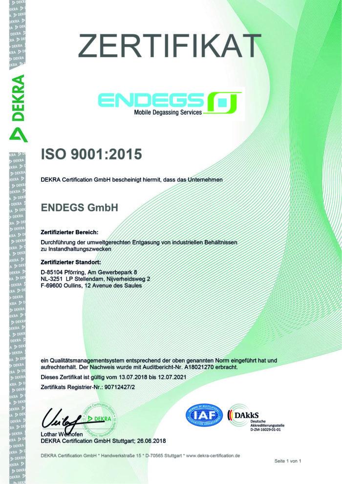 DEKRA Zertifikat für ENDEGS für ISO 9001:2015
