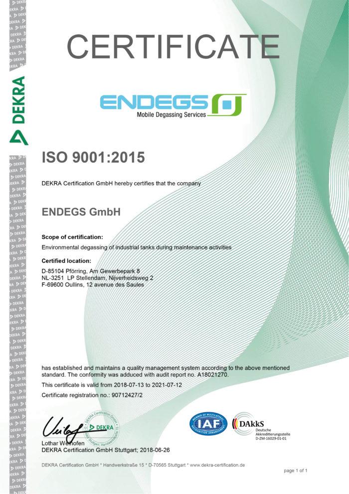 DEKRA ISO 9001 certificate for ENDEGS