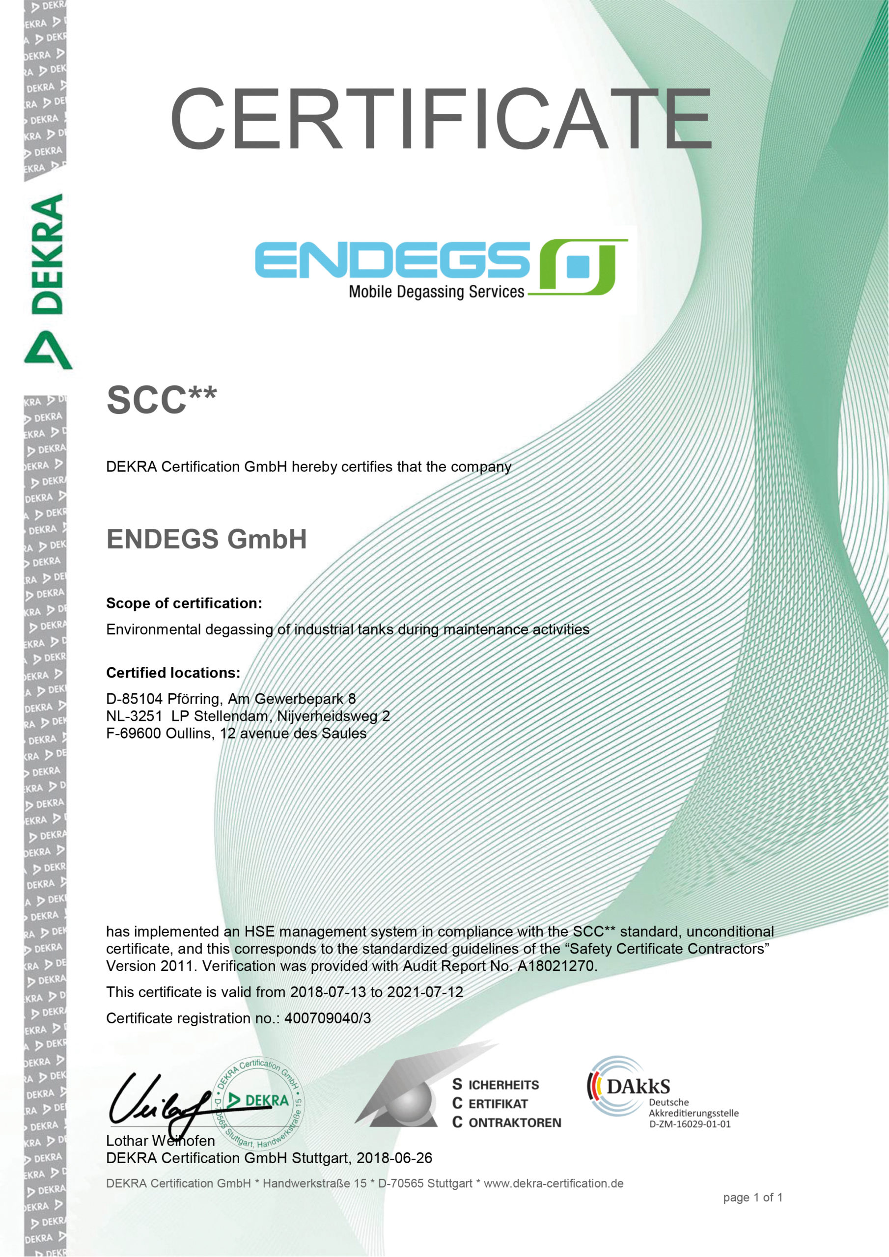 DEKRA Certificate for ENDEGS for industrial degassing of industrial tanks during maintenance activities
