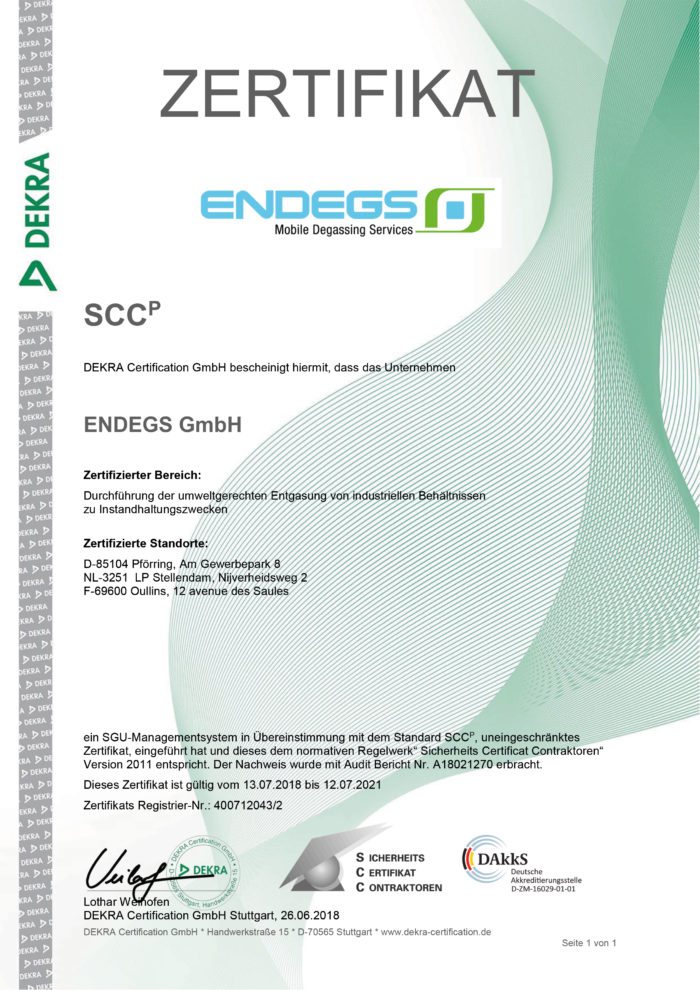 DEKRA Zertifikat für ENDEGS für die Durchführung der umweltgerechten Entgasung von industriellen Behältnissen